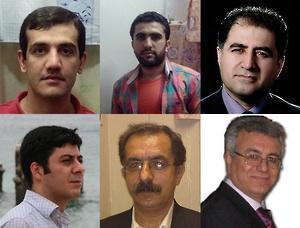 Clockwise from top left: Loghman Moradian, Zaniar Moradian, Kourosh Ziari, Saeed Rezaei, Mohammad Ali (Pirouz) Mansouri, Masoud Bastani. © Private